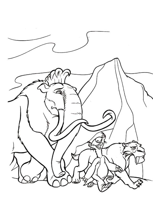 Free coloring and drawings Manny, Sid and Diego Coloring page