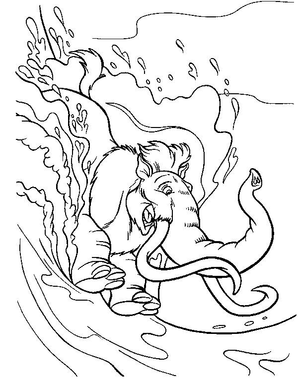 Free coloring and drawings Manny slipping Coloring page