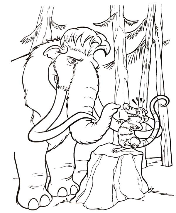 Free coloring and drawings Manny speaks with Crash Coloring page