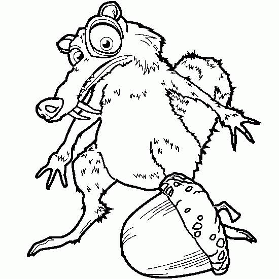 Free coloring and drawings Scrat and its hazelnut: Ice Age Coloring page
