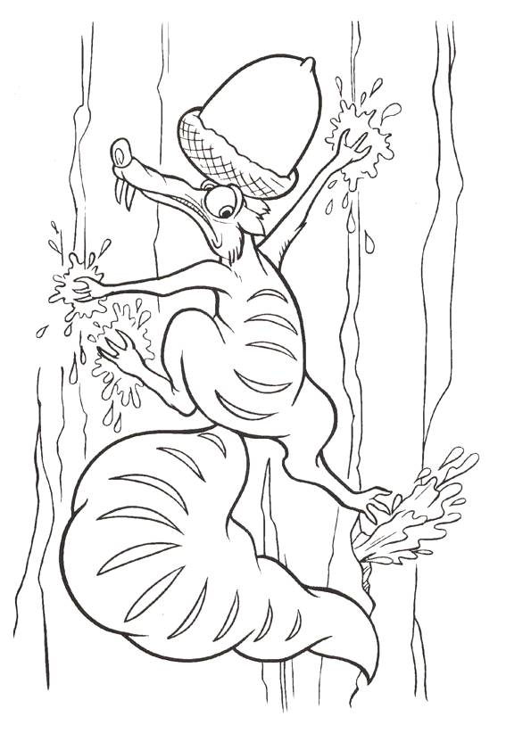 Free coloring and drawings Scrat with his treasure Coloring page