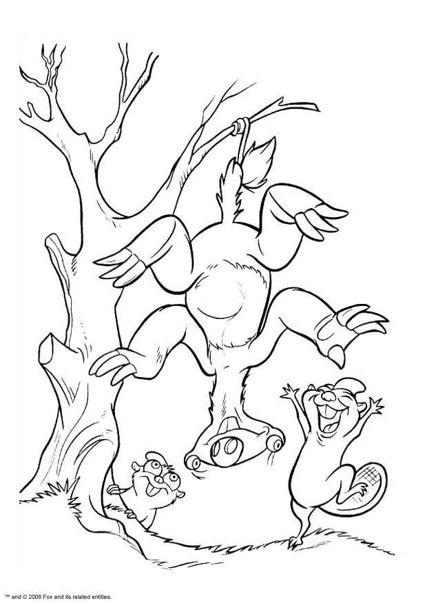 Free coloring and drawings Sid hung on a tree Coloring page