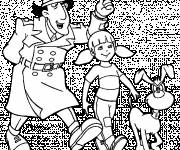 Coloring pages Inspector Gadget and Penny
