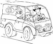 Coloring pages Inspector Gadget drives his car