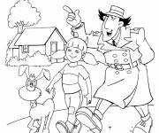 Coloring pages Inspector Gadget talking