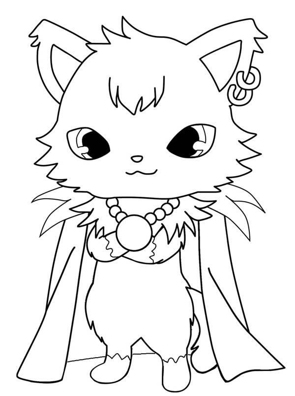 Free coloring and drawings Gorgeous Jewelpet in black and white Coloring page