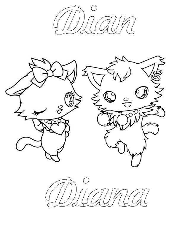 Free coloring and drawings Jewelpet Dian in black and white Coloring page
