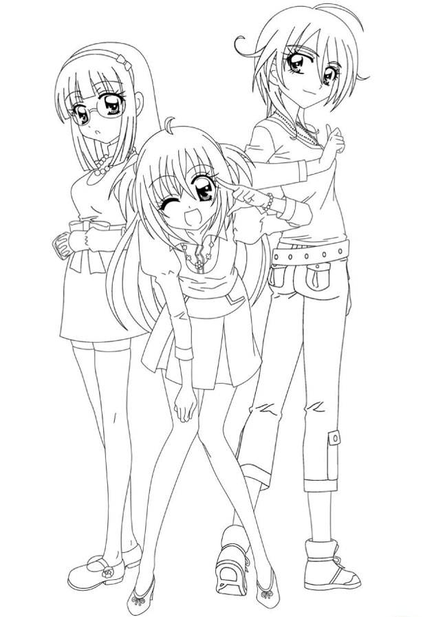 Free coloring and drawings Kirari and her best friends Coloring page