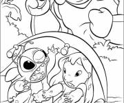 Free coloring and drawings Drawing Lilo, Stitch and the monster Coloring page