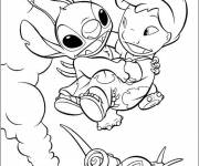 Free coloring and drawings Drawing Lilo, Stitch and the snail Coloring page