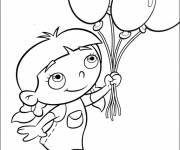 Coloring pages A girl carries balloons