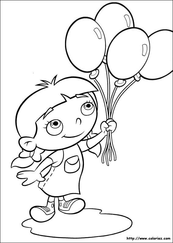 Free coloring and drawings A girl carries balloons Coloring page