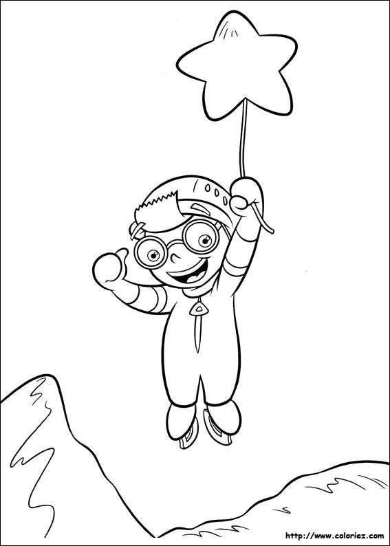 Free coloring and drawings A little Einstein catches a star Coloring page