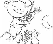 Coloring pages Little Einstein plays the violin