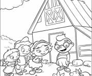 Coloring pages Little Einsteins in front of their house