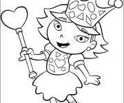 Coloring pages Portrait girl and heart