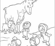 Coloring pages The discoverers and the deer