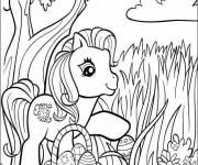 Coloring pages Little pony and Easter egg