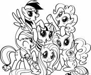 Coloring pages My little pony's family together