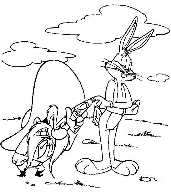 Free coloring and drawings Looney Tunes Bugs and Sam the Pirate Coloring page
