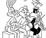 Coloring pages Looney Tunes characters play music