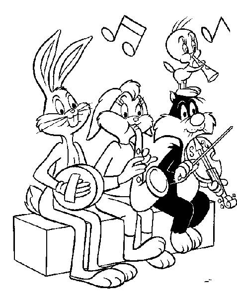 Free coloring and drawings Looney Tunes characters play music Coloring page