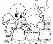 Coloring pages Looney Tunes Tweety at the beach