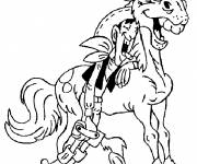 Coloring pages Lucky Luke laughs with his horse