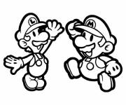 Coloring pages Luigi and Mario free image