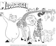 Free coloring and drawings Madagascar funny heros Coloring page