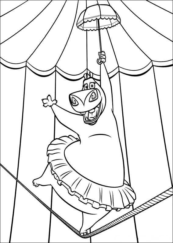 Free coloring and drawings Madagascar Gloria entrails danser Coloring page