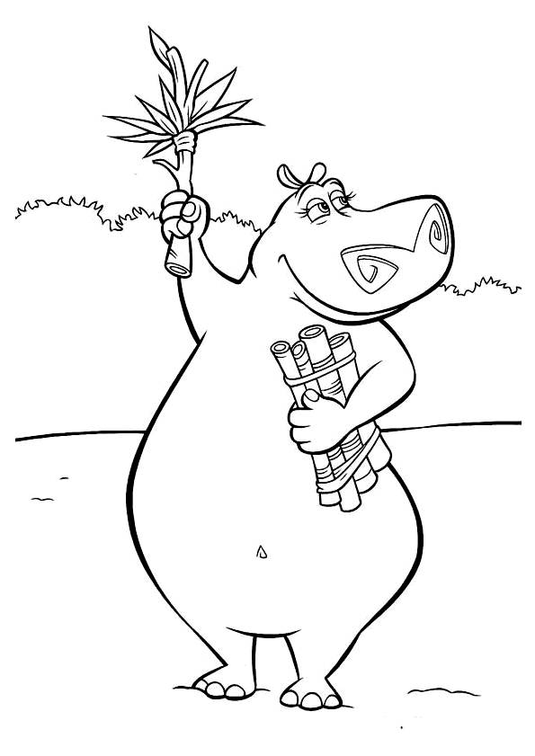 Free coloring and drawings Madagascar Gloria online Coloring page