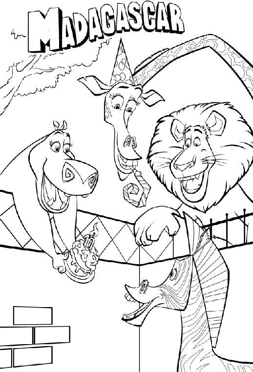 Free coloring and drawings Madagascar Marti's birthday Coloring page