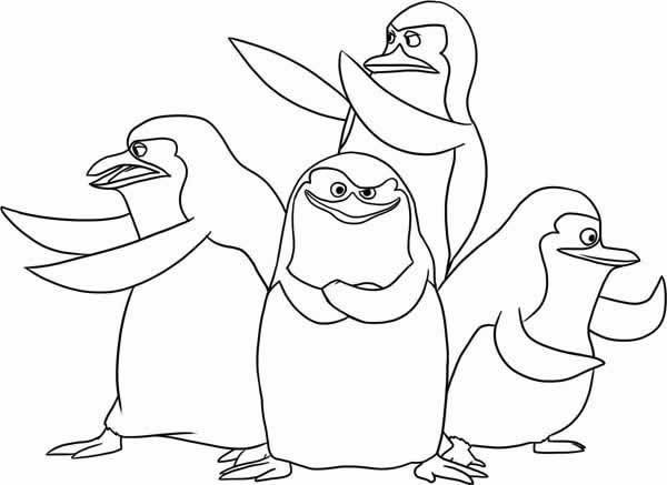 Free coloring and drawings Madagascar pinguins online Coloring page