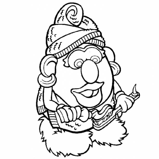 Free coloring and drawings Mrs. Potato brushes her teeth Coloring page