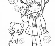 Free coloring and drawings Cute manga girl Coloring page