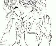 Free coloring and drawings Gorgeous Manga Girl Coloring page