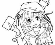 Free coloring and drawings Manga girl for child Coloring page