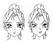 Coloring pages Manga Girl Head