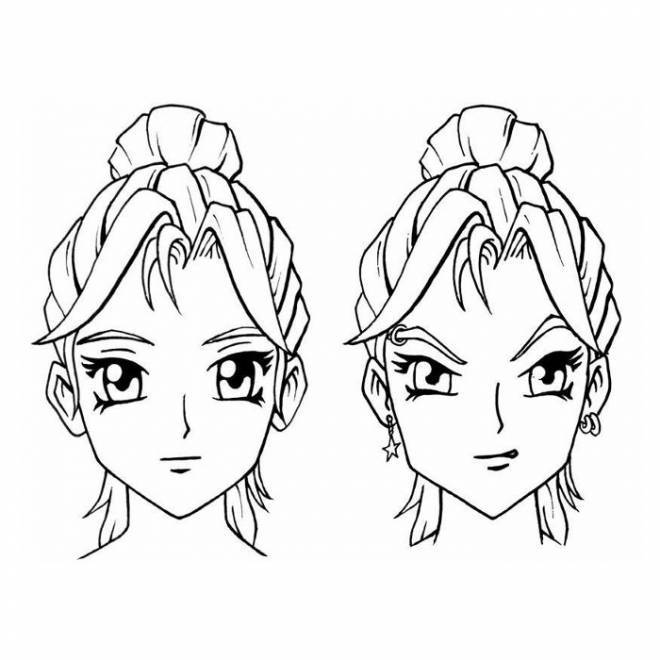 Free coloring and drawings Manga Girl Head Coloring page