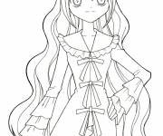 Free coloring and drawings Manga girl in dress Coloring page