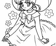 Free coloring and drawings Manga girl to cut Coloring page