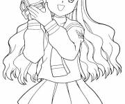 Free coloring and drawings Manga Girl with Camera Coloring page