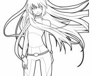 Coloring pages Manga Girl with Long Hair
