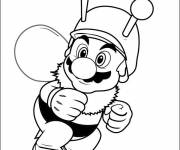 Coloring pages Mario and bee