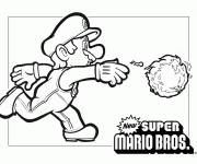 Coloring pages Mario and fireball