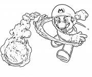 Coloring pages Mario throws his fireball