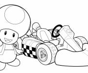 Coloring pages Colored Toad and racing car drawing
