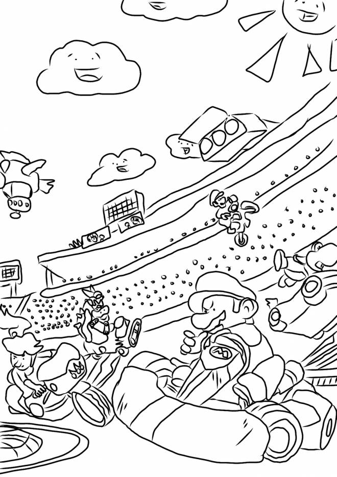 Printable Mario Kart Karting race free sheets coloring page