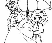 Coloring pages Mario Mushroom Toad and Peach in color